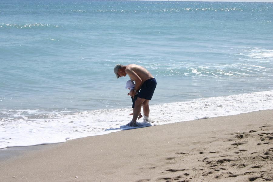 Grandpa Rich & Graham on the beach