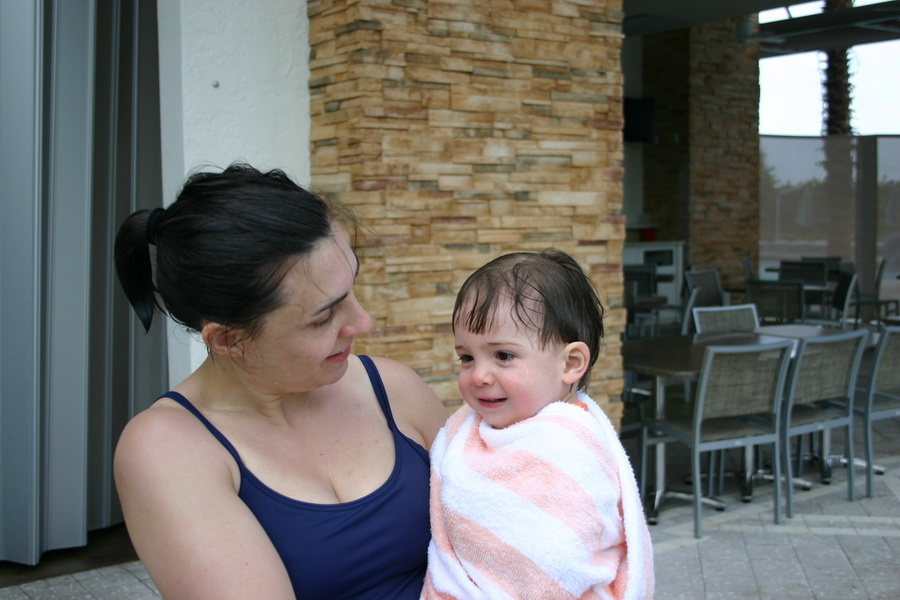 Regen and the little ice cube, poolside