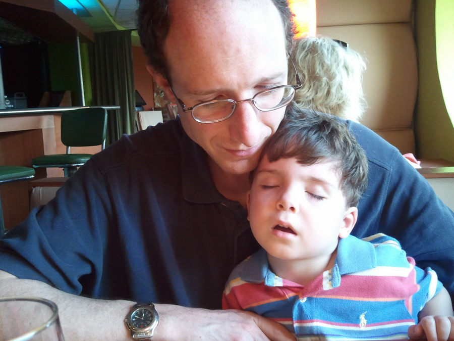Mr G fell asleep sitting on Dad\'s lap waiting for dinner