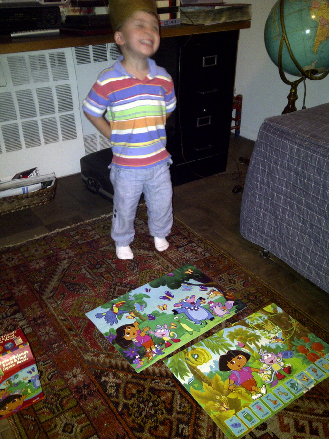 Graham at GABy\'s celebrating finishing Dora puzzles
