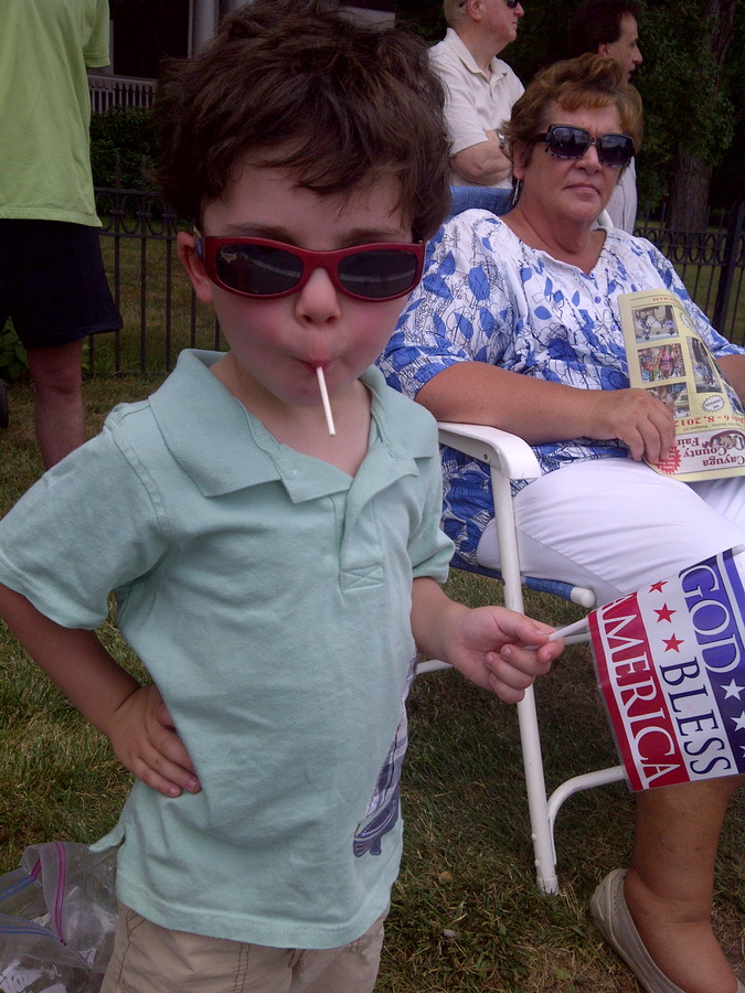 Enjoying some of the candy he got at the parade